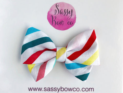 Rainbow Stripes Madi Cotton Bow
