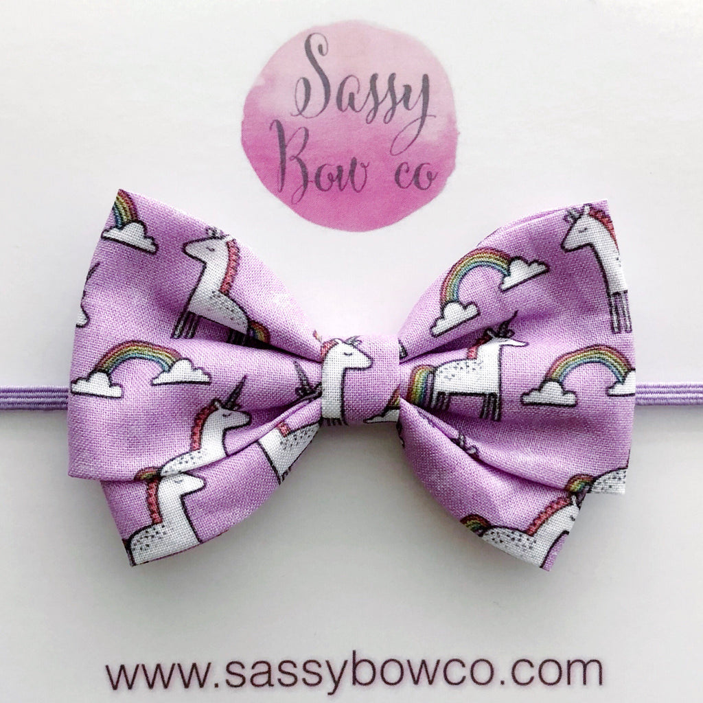 Purple Unicorn Madi Cotton Bow