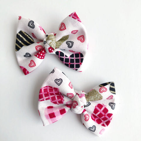 "Plaid Hearts 2"" pigtail set"