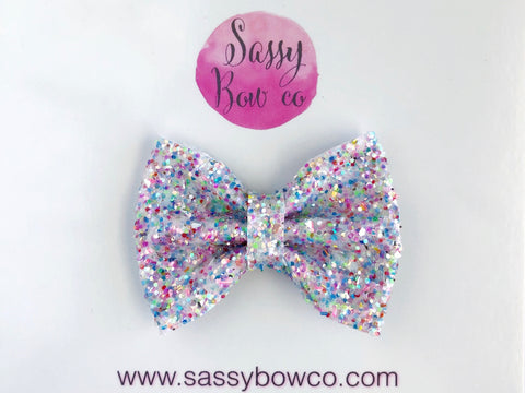 Unicorn Tail Small Glitter Bow