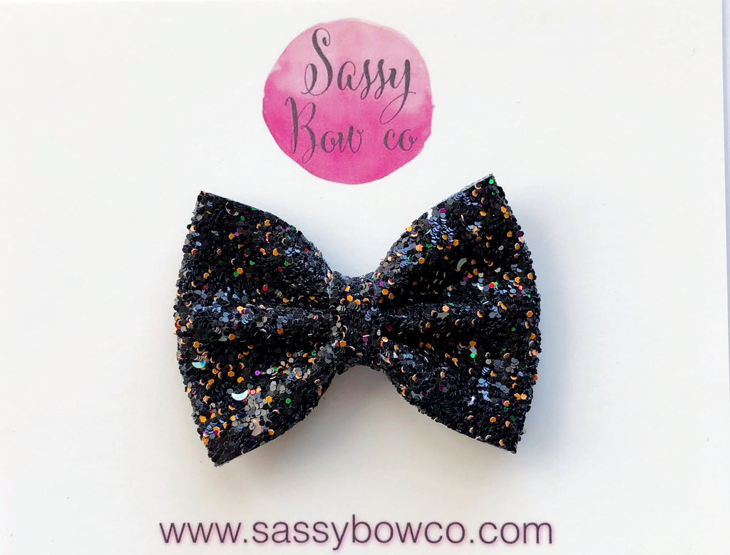 Small Black Halloween Confetti Glitter Bow