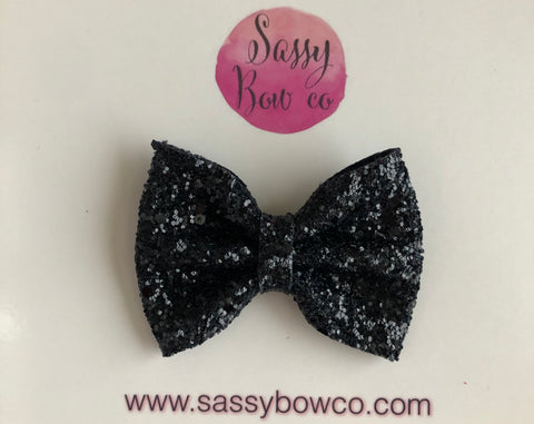 Black small Glitter Bow
