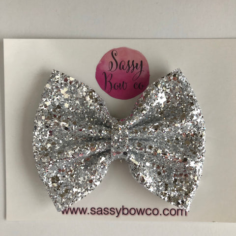 Crystal Silver Large Glitter Bow