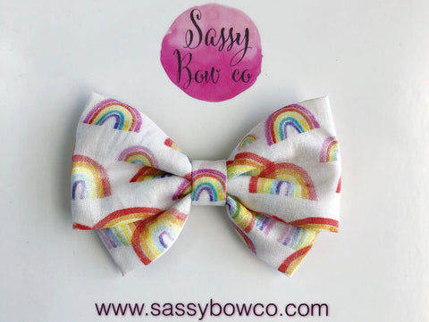Watercolor Rainbows Madi Cotton Bow
