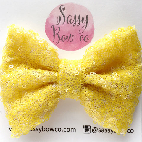 Yellow Sequin Bow
