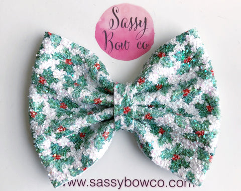 Mistletoe Large Glitter Bow