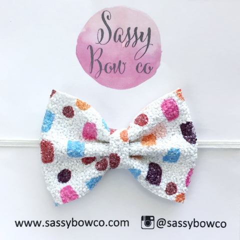 Small Spotty Dot Glitter Bow