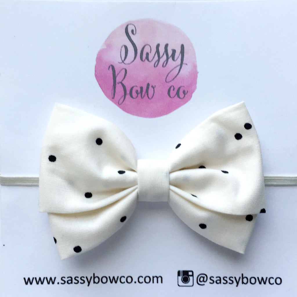 Black & Ivory Confetti Dots Madi Cotton Bow