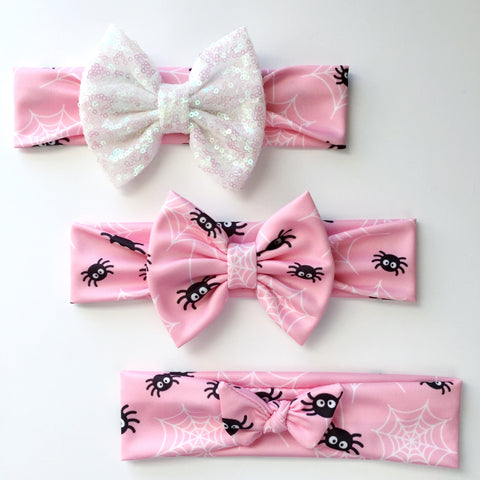 Pink Spider Web Headbands