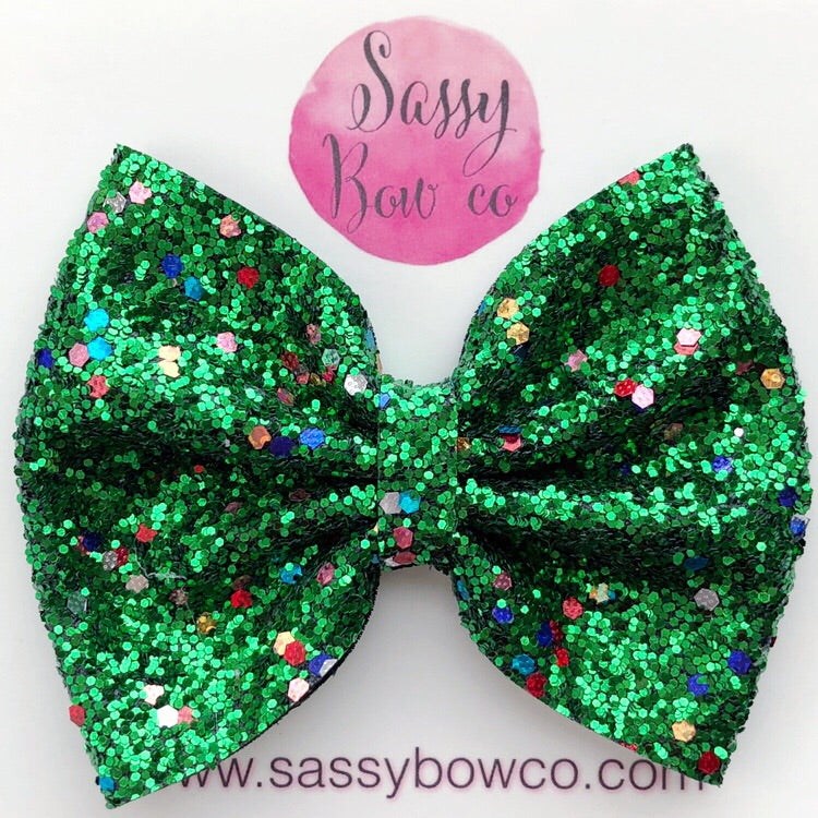 Large Christmas Tree Glitter Bow