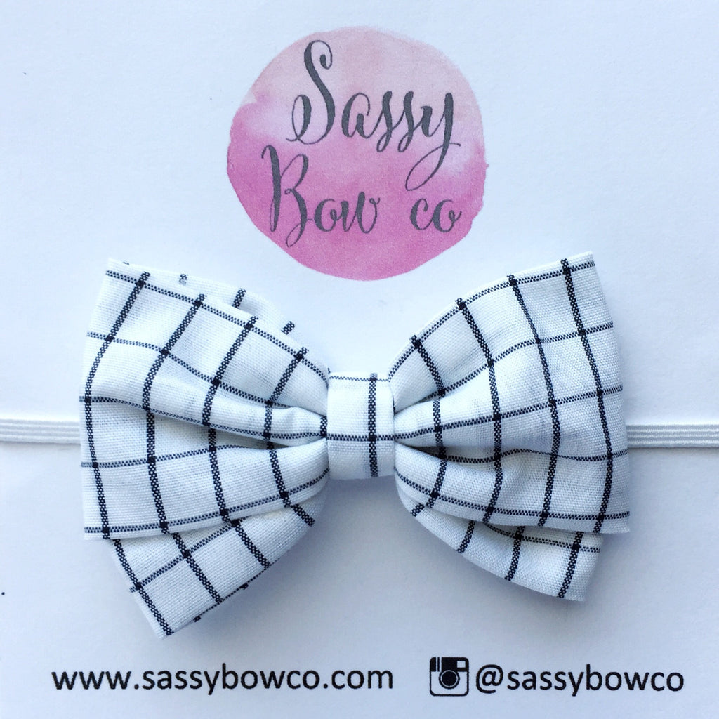 Black & White Plaid Madi Cotton Bow