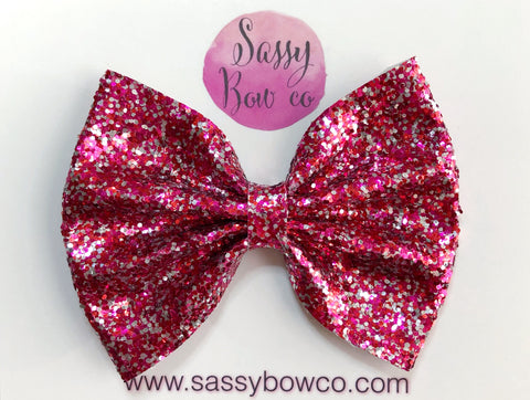 Large Heart Breaker Glitter Bow