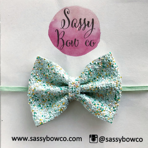 Small Honeydew Glitter Bow