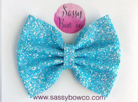 Mermaid Water Large Glitter Bow
