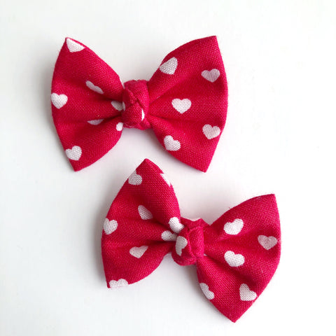 "Red Hearts 2"" pigtail set"