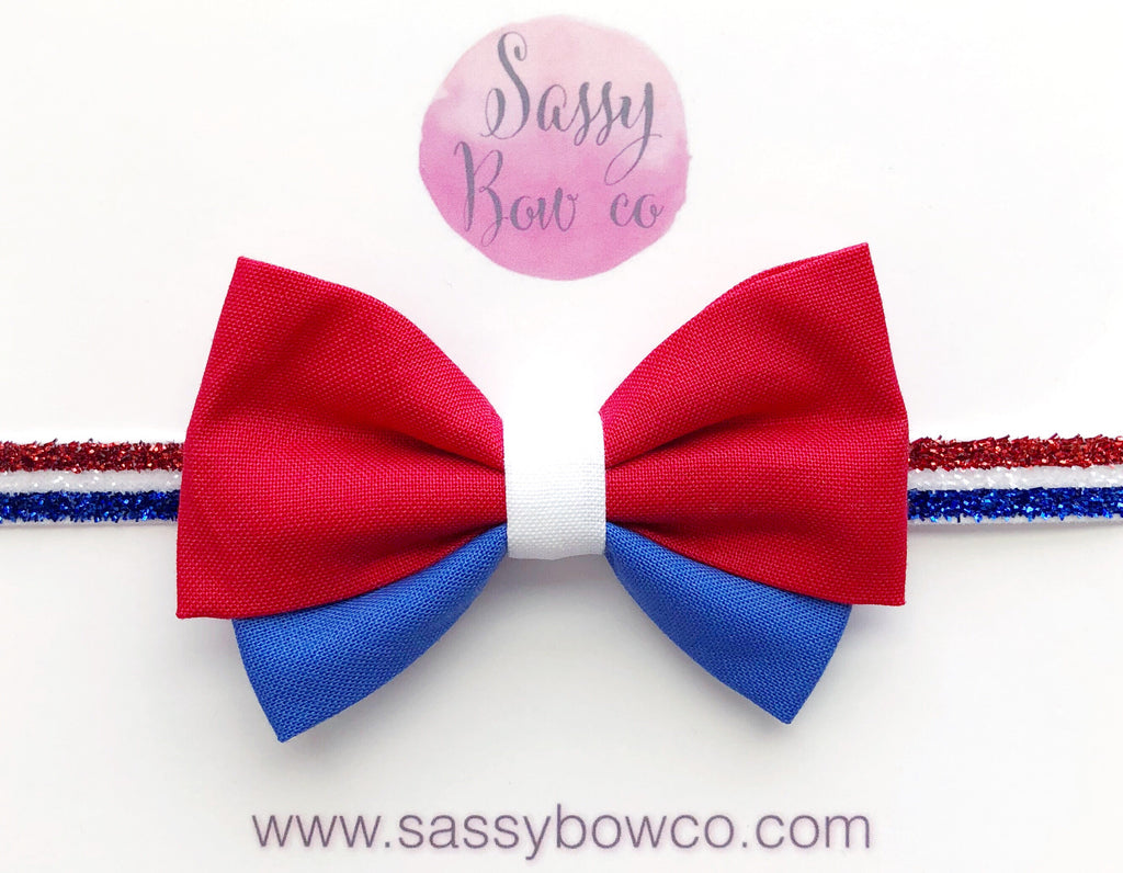 Red White & Blue Madi Cotton Bow