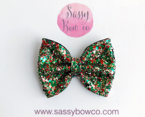 Holiday Confetti Glitter Bow