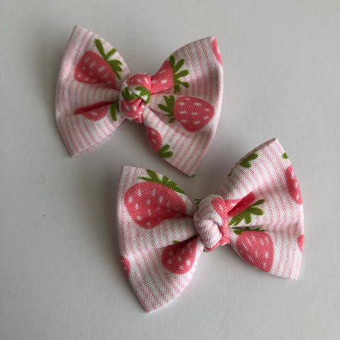 "Strawberry Stripes 2"" pigtail set"