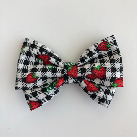 Gingham Strawberry Madi Cotton Bow