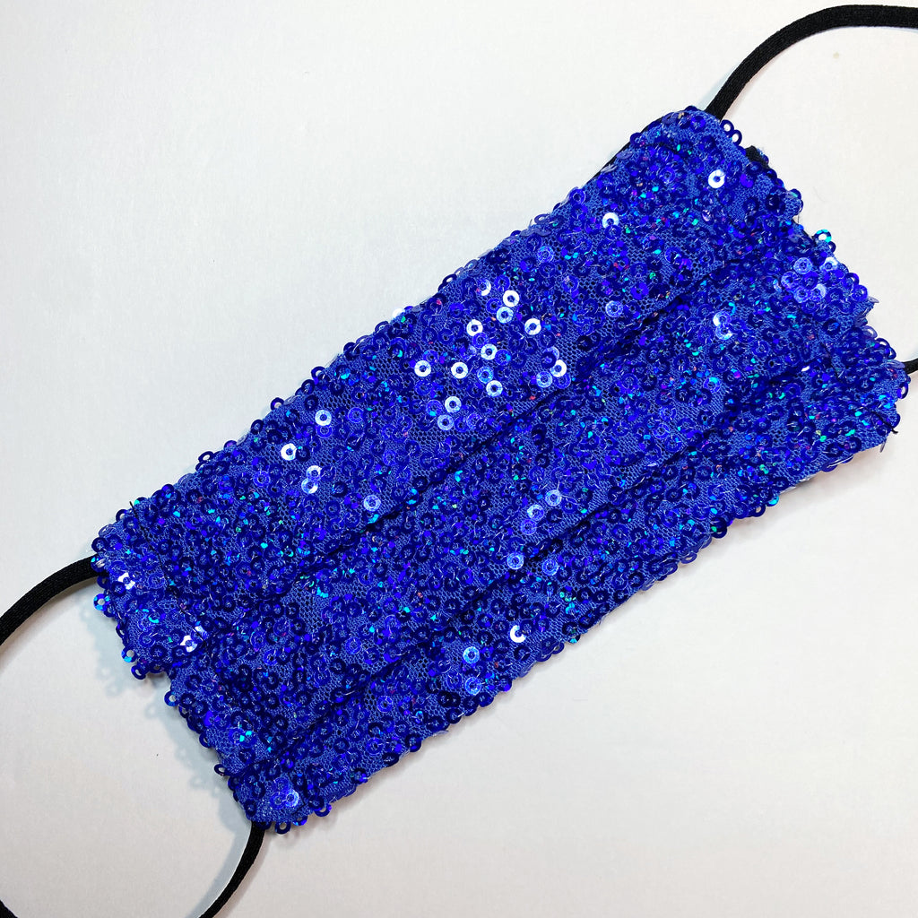 Royal Blue Sequin Sparkle face mask