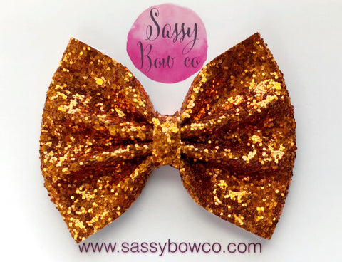 Large Burnt Orange Glitter Bow
