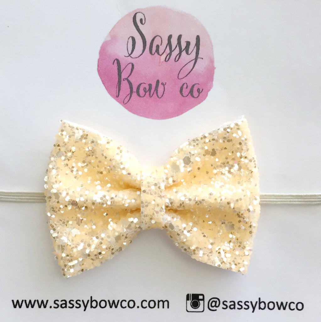 Small Cream Glitter Bow