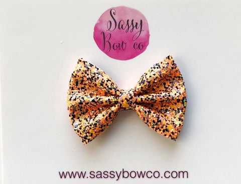 Small Orange Halloween Confetti Glitter Bow