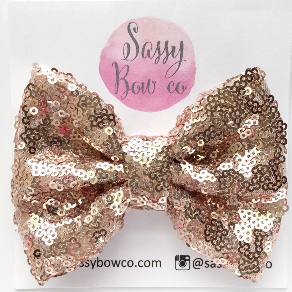 Rose Gold Sequin Bow