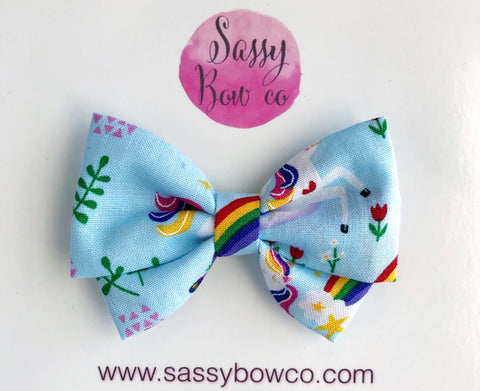 Unicorn rainbow Madi Cotton Bow