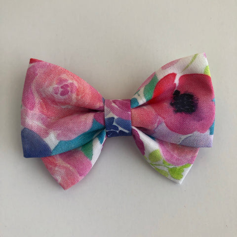 Neon Watercolor Floral Madi Cotton Bow