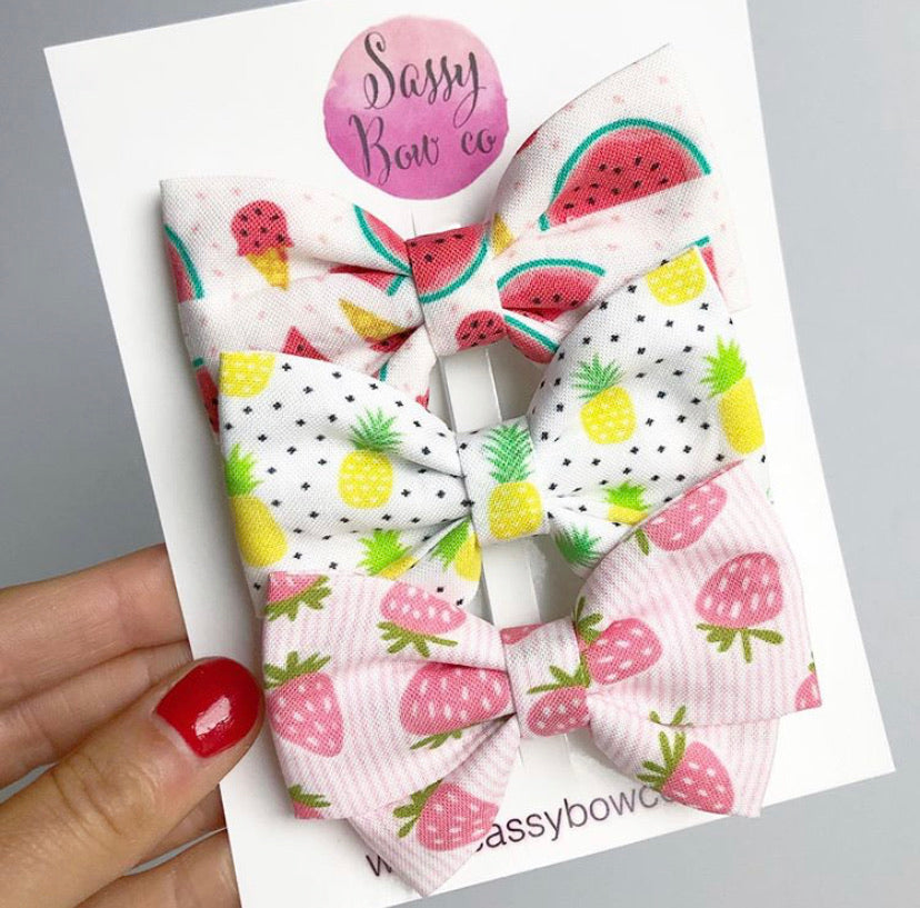 Summer Fruit Madi Cotton Bow Bundle Set