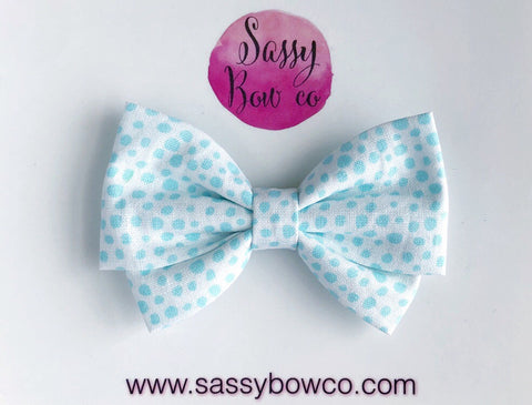 Mint Spotty Dot Madi Cotton Bow