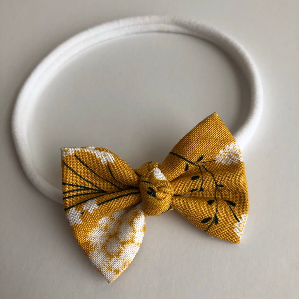 "Mustard Floral 2"" Chloe bow"