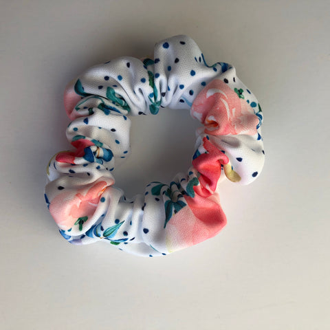 Navy Floral Dot Scrunchie