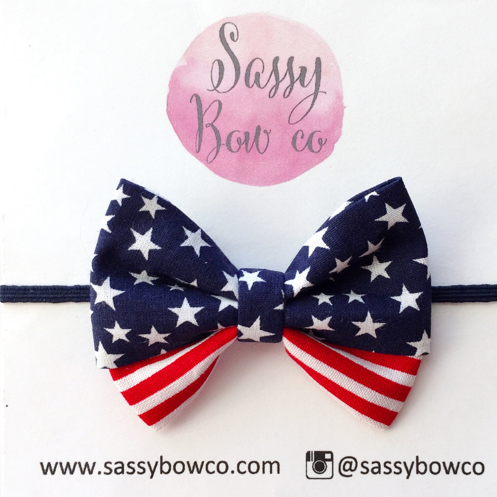 American Flag Madi Cotton Bow
