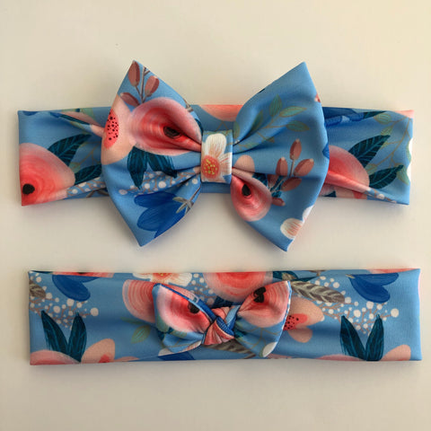 Baby Blue Floral Headbands
