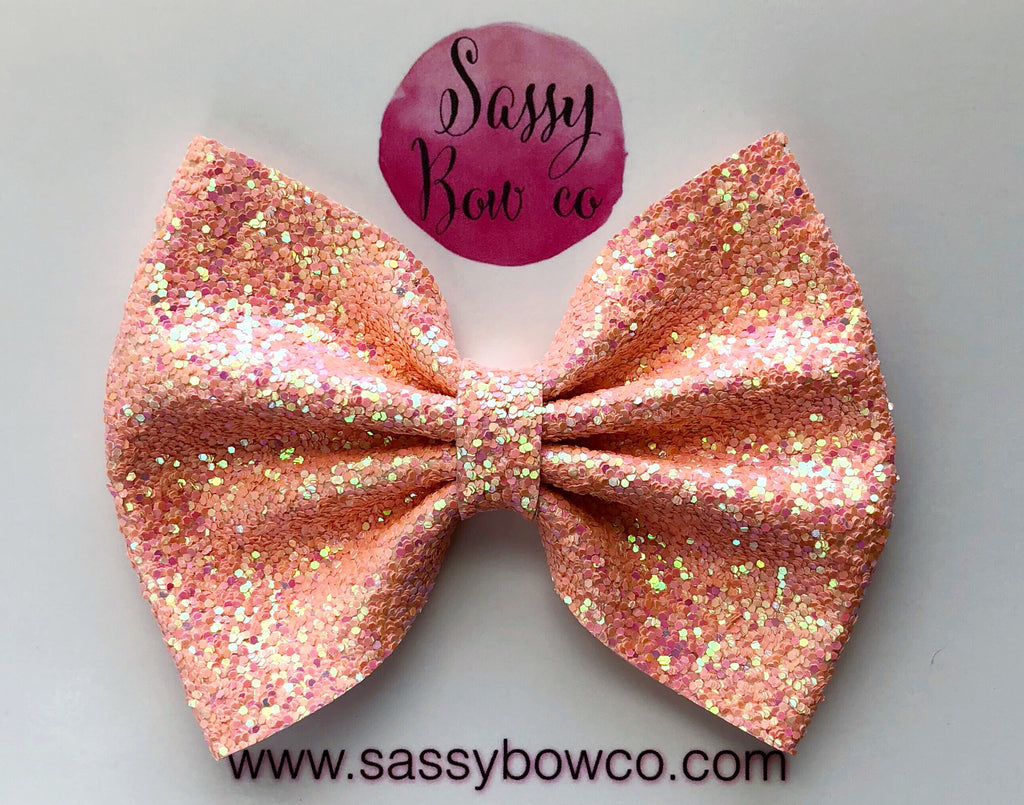 Large Peachy Coral Glitter Bow