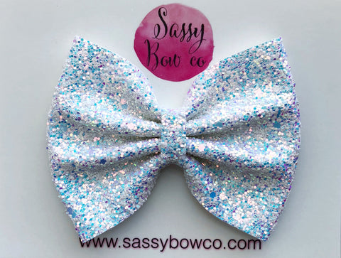 Large Ice Princess Glitter Bow