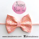 Small Peachy Coral Glitter Bow