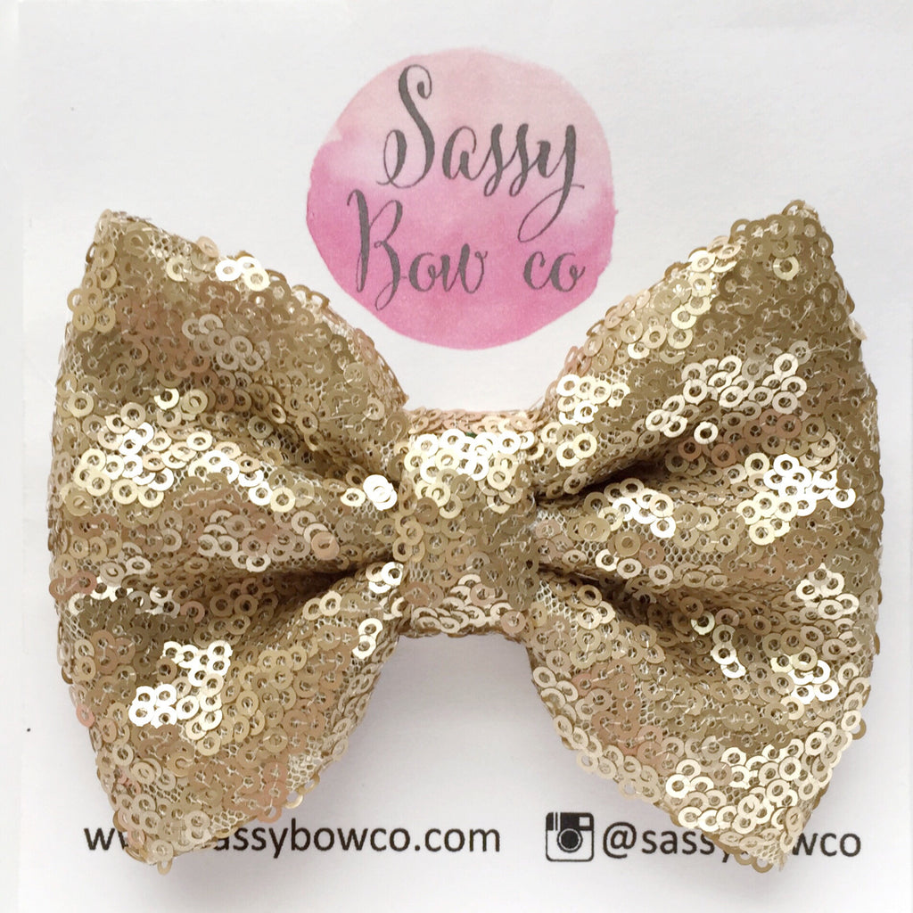 Champagne Sequin Bow