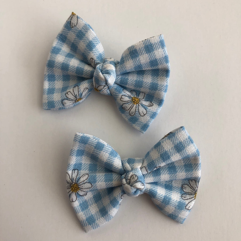 "Gingham Daisy 2"" pigtail set"