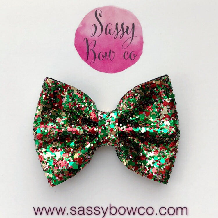 Small Mistletoe Glitter Bow