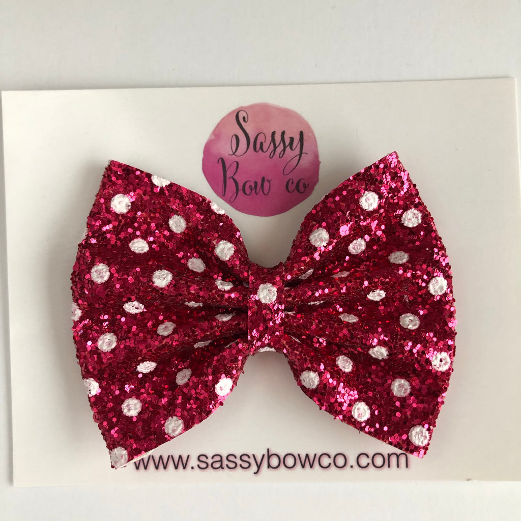 Pink Minnie Dot Large Glitter Bow