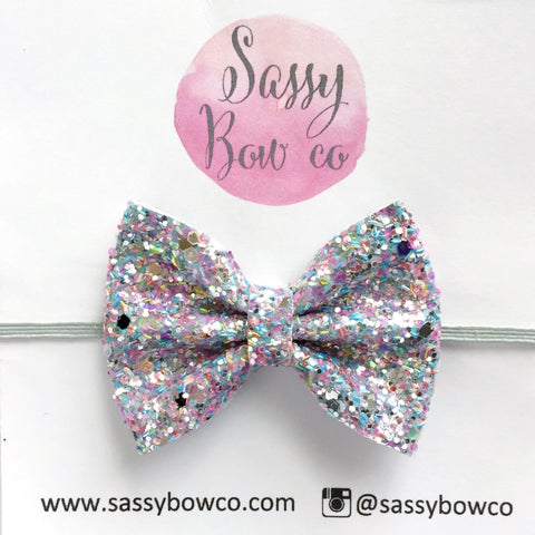Small Unicorn Glitter Bow