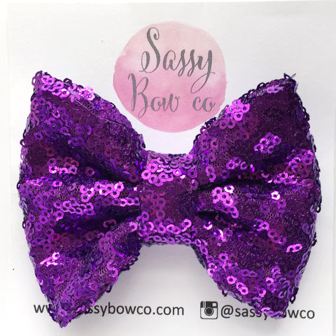 Plum Purple Sequin Bow