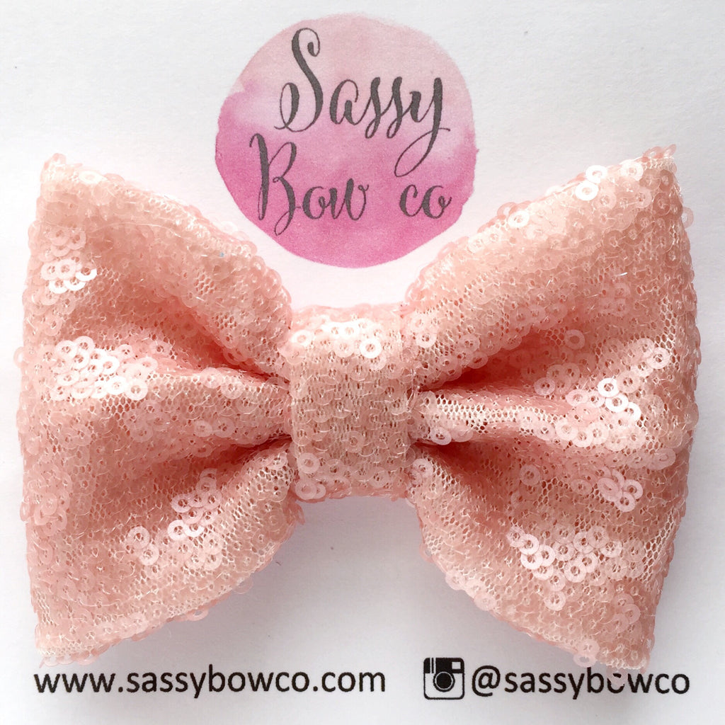 Peach Sequin Bow