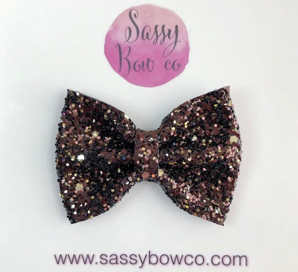 Small Chocolate Glitter Bow