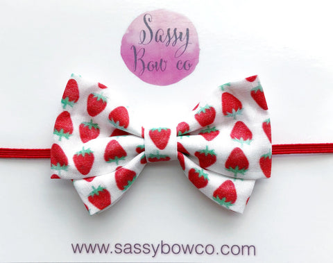 Strawberry Madi Cotton Bow