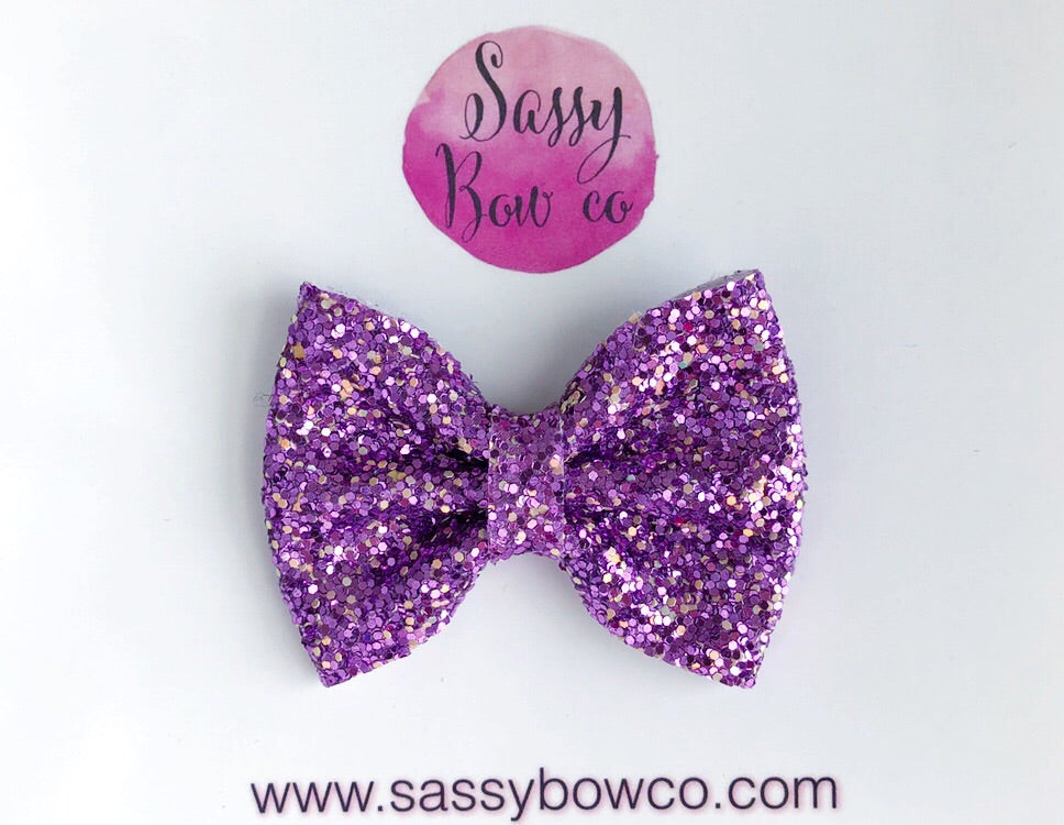 Small Mulberry Glitter Bow