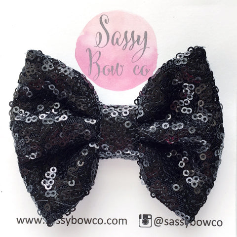 Black Sequin Bow